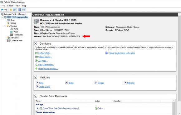 Windows Server Failover Cluster mit File Share Witness auf einem Standalone-Server