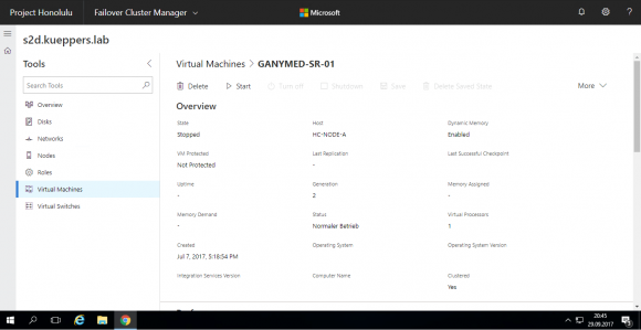 Übersichtliche Details zu den virtuellen Maschinen aus dem S2D Manager oder Failover-Cluster Manager