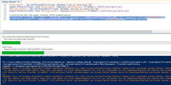 Host Guardian Service initialisieren mit PowerShell