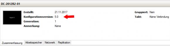 Der Hyper-V Manager zeigt seit 2012 R2 die VM-Version an