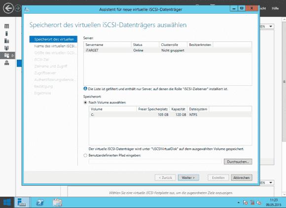 Im ersten Schritt verlangt der Assistent die Eingabe des Speicherorts für die VHDX.