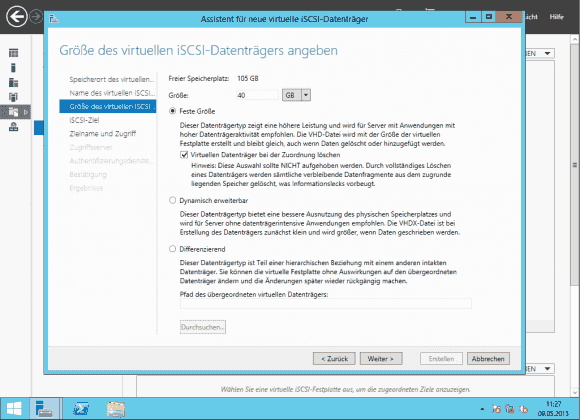 Größe -und Typ der VHDX-Datei: Diese darf bis zu 64 TB groß sein.