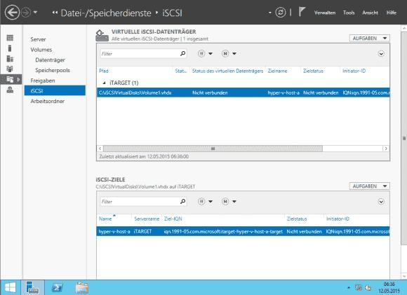 Resultat: Zieldatenträger und Zielname. Ein iSCSI-Ziel kann auch mehrere Datenträger bereitstellen.