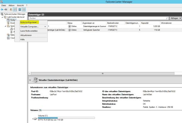 Über den Failovercluster-Manager wird die iSCSI Rolle konfiguriert.