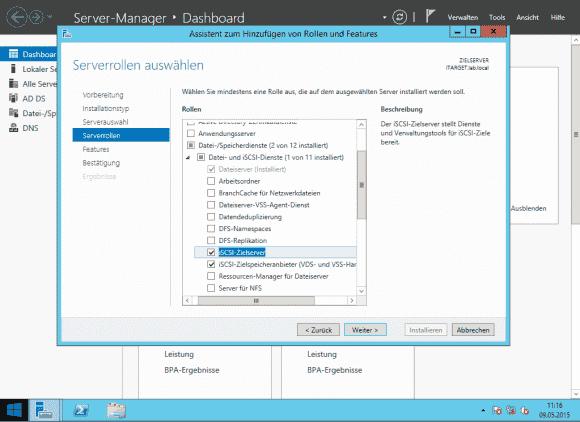 Die Rolle als iSCSI-Target (auf deutsch: iSCSI-Zielserver) wird über den Server Manager hinzugefügt.