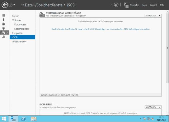 Nach dem Hinzufügen der iSCSI-Target-Rolle startet man den Assistenten für neue iSCSI-Datenträger.