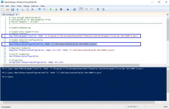 Erzeugen des Role Capability- und Session Configuration File