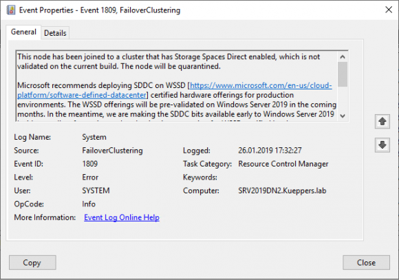Nicht-zertifizierter S2D-Knoten beim Beitritt zum Verbund, hier: Event ID 1809