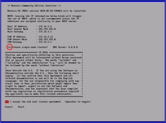 IP des Hosts und der Controller-VM definieren