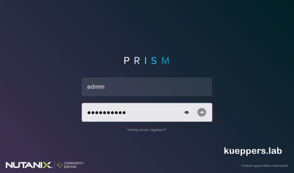 Browser-Login zu Nutanix Prism