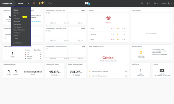 Nutanix Prism Home-Dashboard
