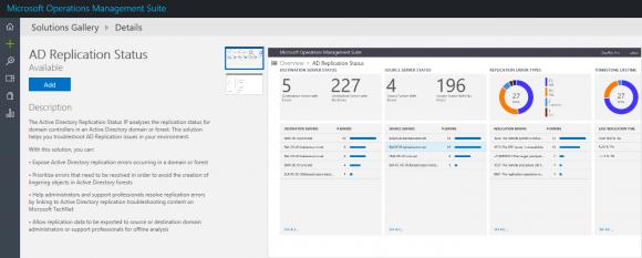 In der Solutions Gallery finden sich bekannte, in die Cloud verlagerte Tools wie AD Replication Status