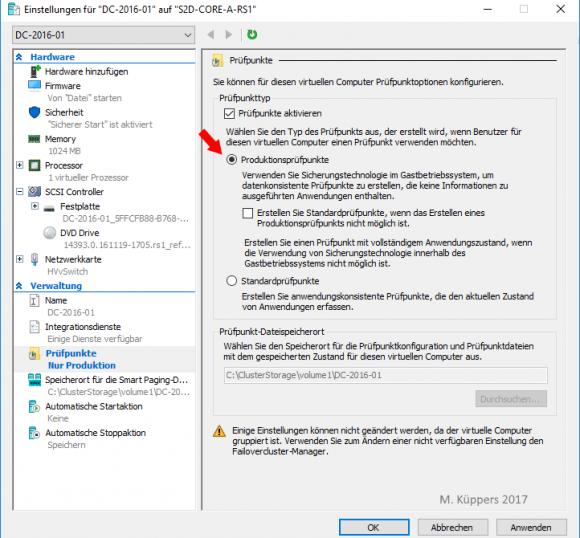 Die Optionen für Produktionsprüfpunkte lassen sich in den Einstellungen einer VM konfigurieren.