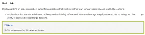 Microsofts Dokumentation zufolge wird ReFS auf SAN-Speichern nicht unterstützt.