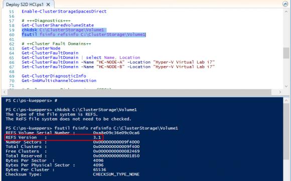 Abfrage der ReFS Version und Beispiel zu Chkdsk: gegen ein ReFS Volume nicht erforderlich.
