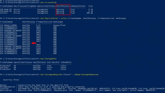 Storage Health-Status eines S2D-Clusters mit ausgefallener HDD