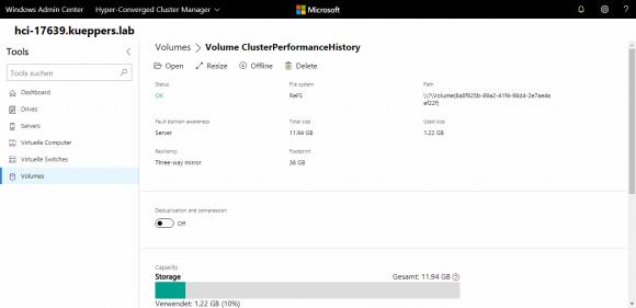 Das Volume ClusterPerformanceHistory im Windows Admin Center