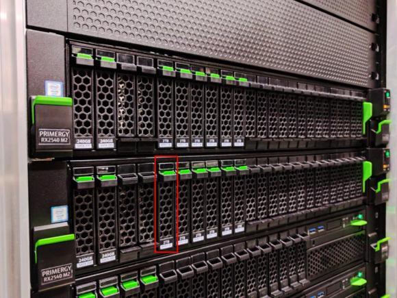 Fujitsu M2-Knoten mit ausgefallener HDD im Slot 4