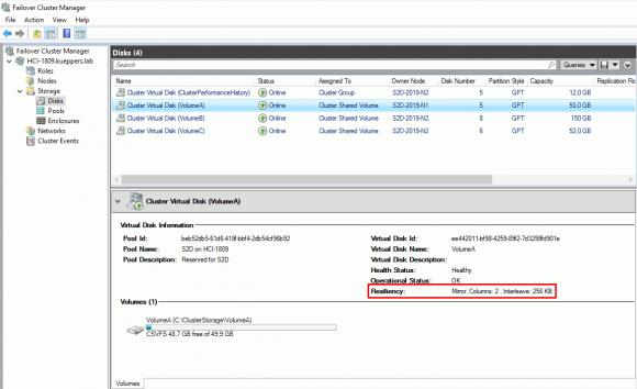 Details zu einem Nested-Resiliency Volume im Failover Cluster Manager