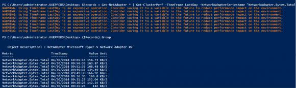 Abfrage der zurückliegenden Performance-Daten für die Netzwerkadapter