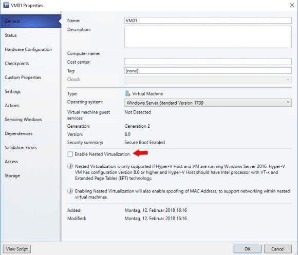 Nested Virtualization über die GUI des VMM aktivieren