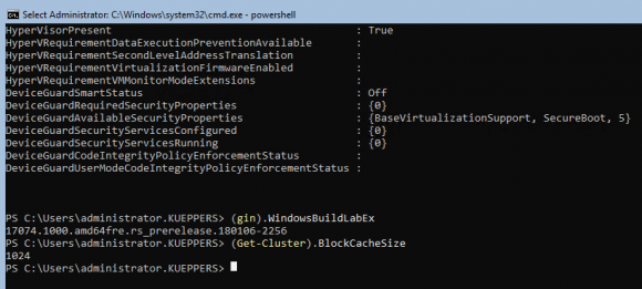 Systeminformationen für die Windows Server Preview 17074