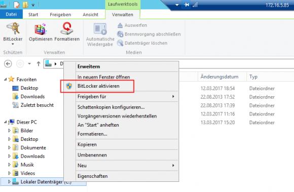 Über die Remotedesktop-Verbindung kann man nun das Laufwerk mit BitLocker verschlüsseln.
