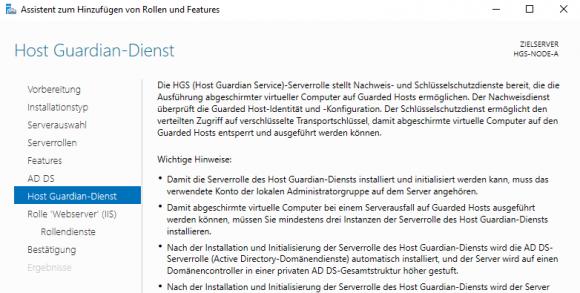 Windows Server 2016 Standard mit HGS-Rolle