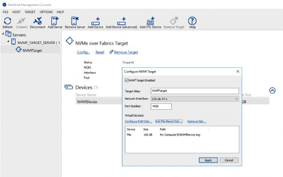 Konfiguration des NVMeOF-Targets, Device anlegen. Quelle: StarWind