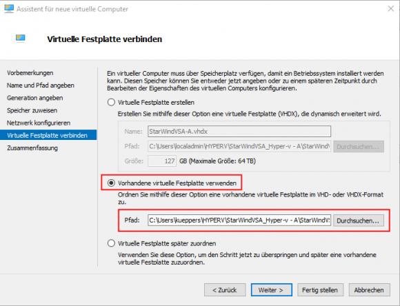 Einbinden der heruntergeladenen VHDX in die zuvor erstellte VM Gen1