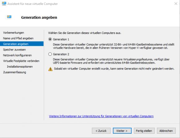 Unter Hyper-V muss die VHDX mit StarWind VSA einer VM der Generation 1 zugeordnet werden.