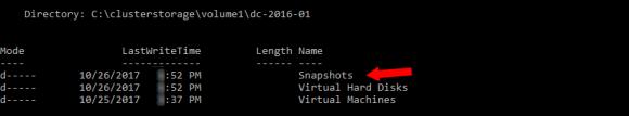 Die Verzeichnisstruktur zum Speichern der Snapshots hat sich bei den Production Checkpoints nicht geändert.