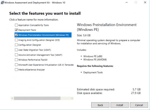 Benötigte Komponenten aus dem Windows ADK für Windows 10 installieren