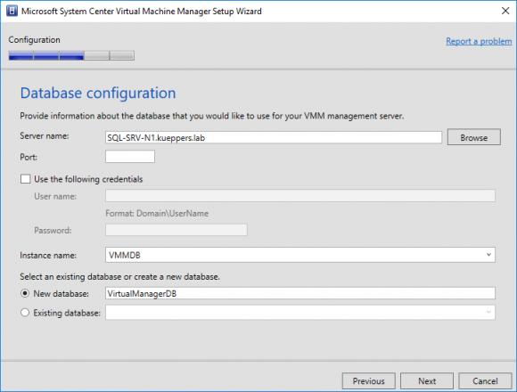 SQL Server festlegen und Datenbank erstellen