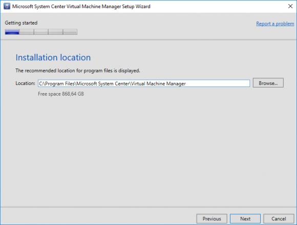 Installationspfad für VMM angeben