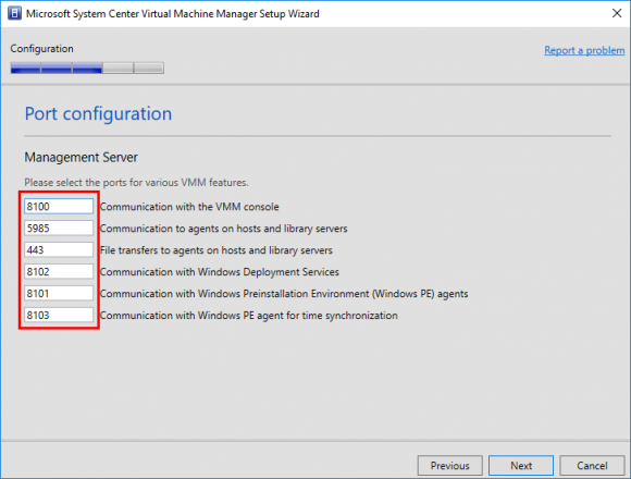 Ports für VMM konfigurieren