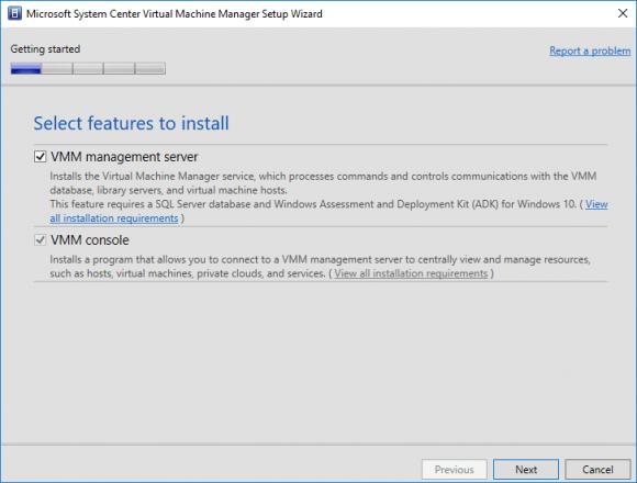 Management Server zusammen mit der Konsole für die Installation auswählen