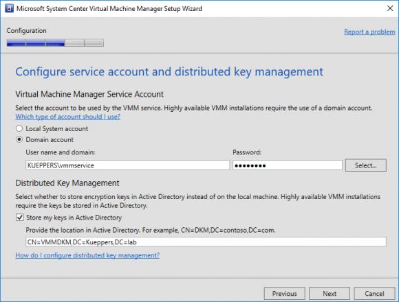 Service Account und DKM Container angeben