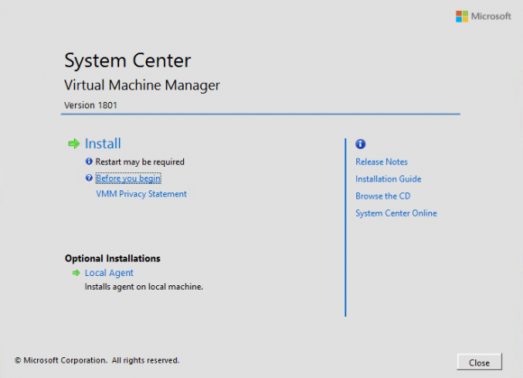 Installation des Virtual Machine Manager 1801 starten