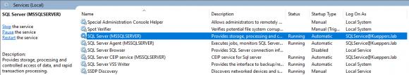 Der SQL Server muss unter einem AD-Account laufen