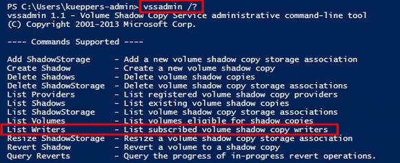Mit vssadmin lässt sich anzeigen, für welche Anwendungen ein VSS-Writer vorhanden ist.