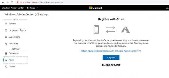 Windows Admin Center verbindet lokale Ressourcen mit Azure-Diensten.