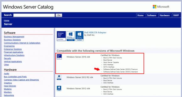 HBA für S2D im Windows Server Catalog