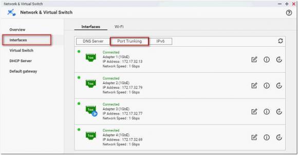 Zu Netzwerk und virtueller Switch => Schnittstellen navigieren und Portbündelung auswählen