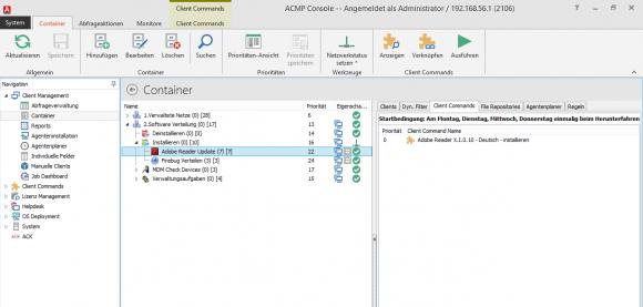 """In dem Container """"Adobe Reader Update"""" wird einmalig beim Herunterfahren Adobe Reader aktualisiert, außer freitags."""