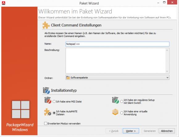 Der Paket-Wizard mit seinen vielseitigen Möglichkeiten für Installations-Ressourcen.