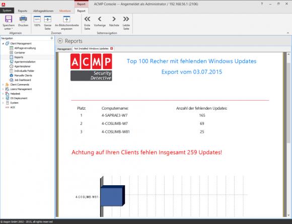 In diesem Report sieht man schnell, welche Clients ein Update benötigen..