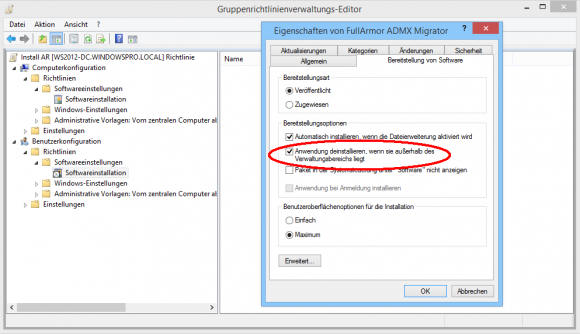Falls das GPO nicht mehr auf den User oder Computer zutrifft, kann das Paket automatisch deinstalliert werden.