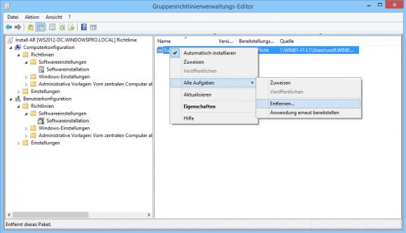 Verteilte Software-Pakete lassen sich auch interaktiv entfernen.