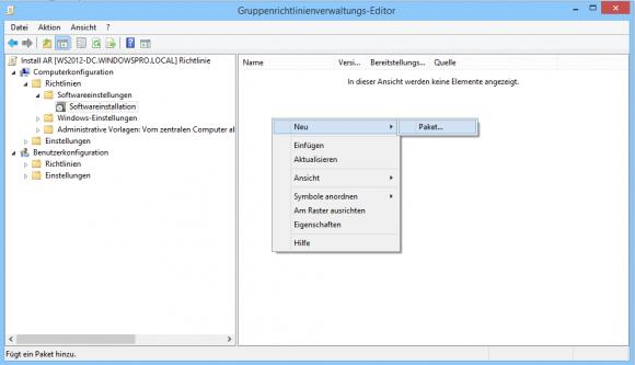 Die Verteilung einer Software beginnt damit, dass man im GPO-Editor ein neues Paket anlegt.